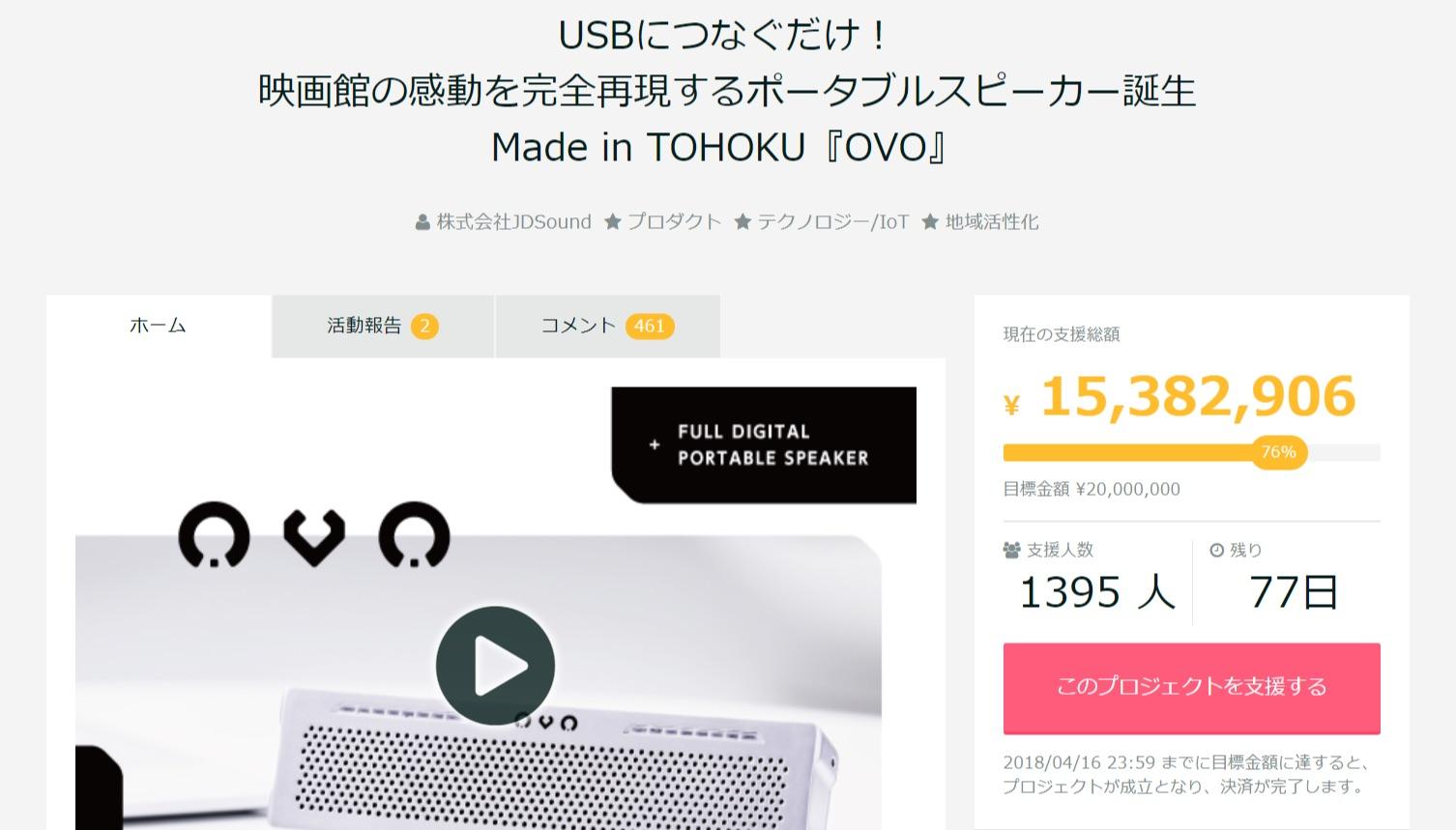 Made in TOHOKU 究極のフルデジタルスピーカー『OVO』