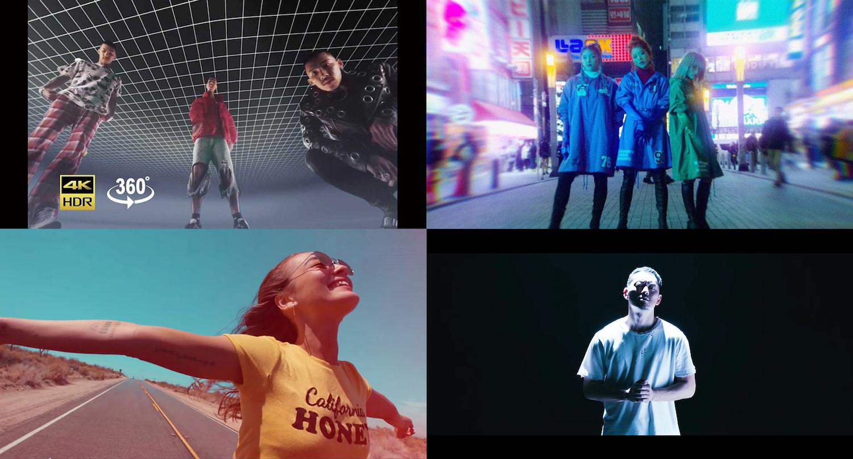 MV作品の一部。左上から時計回りに、「KOHH / I Want a Billion feat. Taka」「スダンナユズユリー / LOOK AT ME NOW」「SALU / My Love」「般若 / 大丈夫」(画像提供:BABEL LABEL)