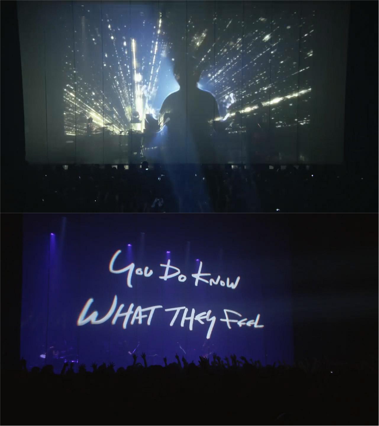 バンドと客席を隔てたスクリーンに映し出される川島さんのシルエットや歌詞