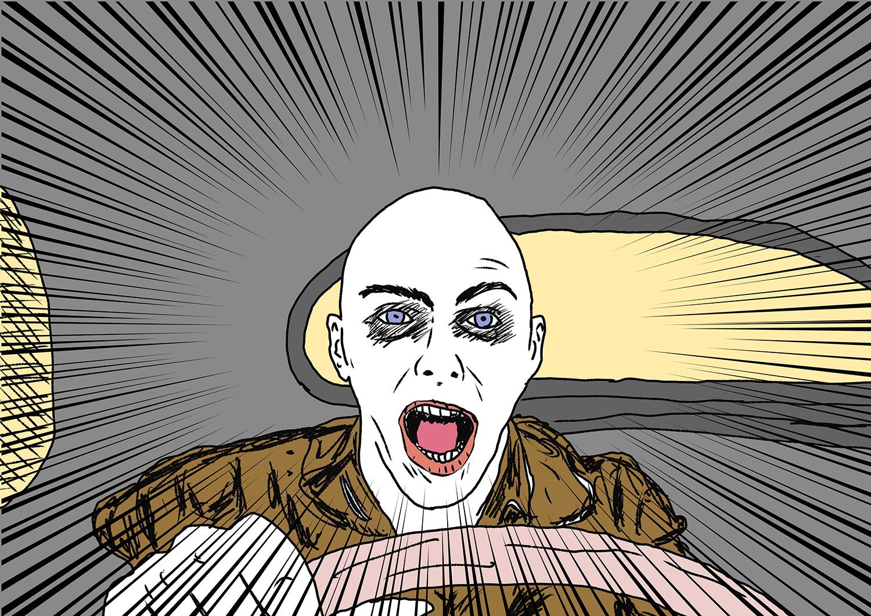 『マッドマックス 怒りのデス・ロード』のワンシーン。本当は火炎放射器付きのギターをかき鳴らしている男が好きなんだけど、絵を描くのが大変そうだったのでこれで!